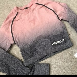 Gymshark peach and grey ombre seamless crop top
